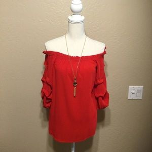 Forever 21 Red Off Shoulder Top (NWT)
